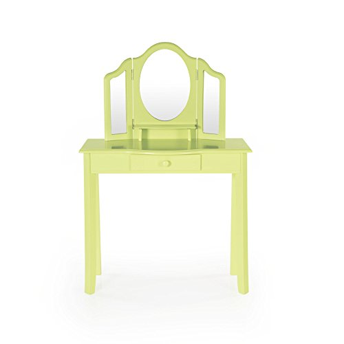 Guidecraft Vanity Table and Stool Set with Mirror and Make-Up Drawer - Children's Furniture - Light Green by Guidecraft (Image #3)