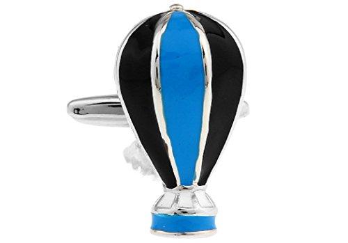 MRCUFF Hot Air Balloon Blue & Black Pair Cufflinks in a Presentation Gift Box & Polishing Cloth ()