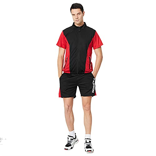 Mortilo Men's Summer Leisure Sports Suit, Plus Size Fitness Outdoor Running Two-Piece Suit(Black-5,XXL)