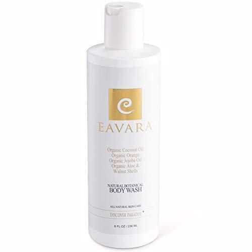 Natural Organic Body Wash by Eavara - Exfoliating Moisturizing Shower Gel for Women and Men | Coconut Oil, Aloe, Green Tea, Jojoba Oil and Vitamin E for Dry, Sensitive or Oily Skin (8 fl oz)