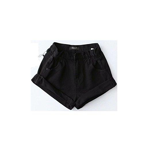 Taille Elastique Oudan Shorts Vintage Femme Rtro Noir Chic Jeans Large Courte 1Yf61
