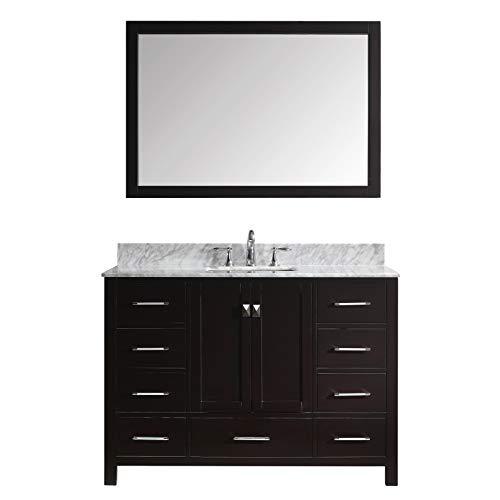 - Virtu USA Caroline Avenue 48 inch Single Sink Bathroom Vanity Set in Espresso w/ Square Undermount Sink, Italian Carrara White Marble Countertop, No Faucet, 1 Mirror - GS-50048-WMSQ-ES