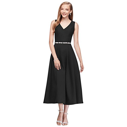 David Style Robe De Demoiselle D'honneur De Thé Longueur De Mariée Mikado V-cou Noir Oc290027