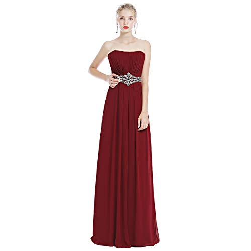 OwlFay Women's Strapless Sweetheart Bridesmaid Dresses Ruched Bust Long Chiffon Prom Rhinestone Empire Waist Formal Evening Gown Cocktail Maxi Ball Ladies Pageant Wedding Party Dresses Wine Red US (Chiffon Empire Waist Prom Dress)