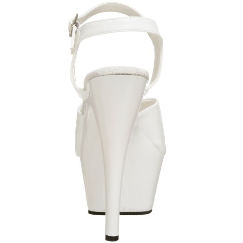 Pleaser Kiss209/R/M, Women's Heels Sandals White (Wht Pat/Wht)