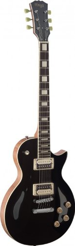 Stagg SEL-ZEB-BK L Series Zebra 6-String Electric Guitar with Solid Mahogany Body - Black