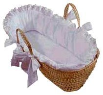 Baby Doll Bedding Carnation Eyelet Moses Basket, White (Wicker Baby Cribs)
