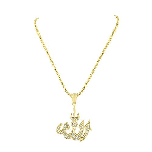 Allah Pendant Charm Necklace 14K Gold Finish Stainless Steel Lab Created Diamond by Master Of Bling