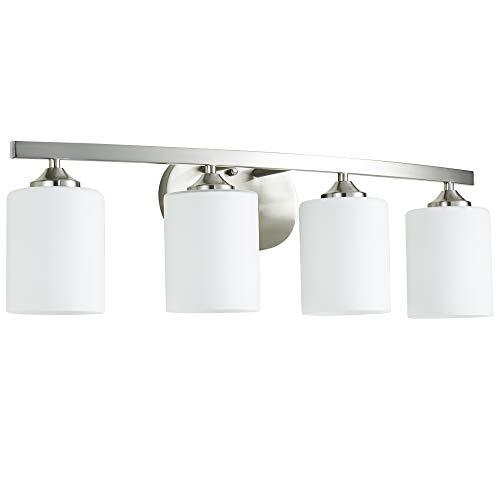 Kingbrite 4 Bulb E26 Vanity Light Fixture Bathroom Lighting, Brushed Nickel,UL ()