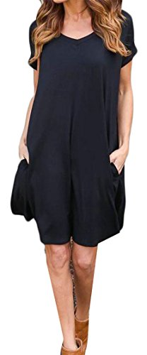 Pleated Dresses Sleeve Pocket Crewneck Top Women Swing Cromoncent Loose Short Black EHR0FWqz