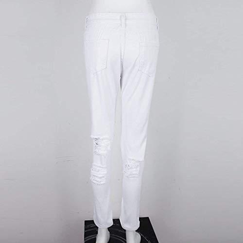 Las Moda Casuales Color Denim Vaqueros Ripped Pantalones Blanco Con Skinny Bolsillos Sólido Mujeres Botón De Acogedor wqEnv