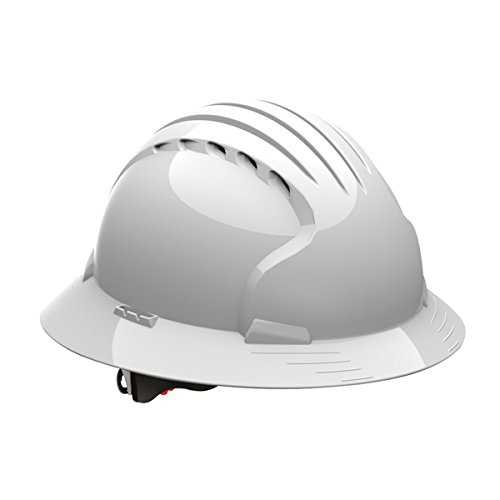 Safety Works Pro Hard Hat, Vented, White, 6-Point Wheel Ratchet Suspension by Safety Works