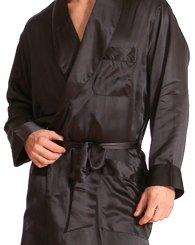 Intimo Men's Classic Silk Robe, Black, XX-Large