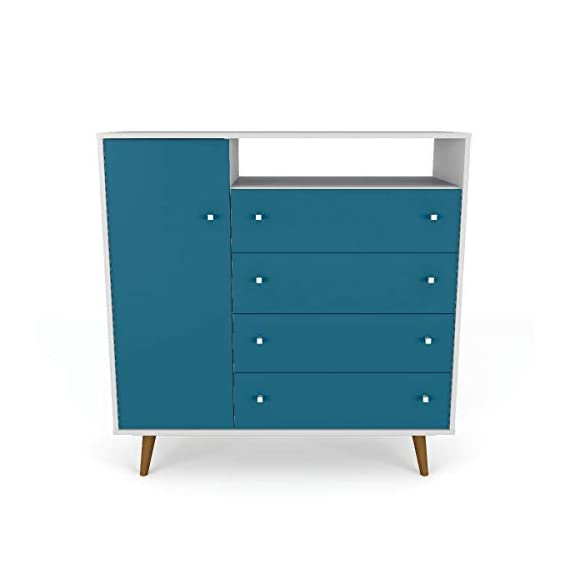 Mid Century Modern Sideboard Dresser Chest with 4 Drawers 4 Shelves 1 Door and Solid Wood Splayed Legs - Includes Modhaus Living Pen (White and Aqua Blue) -  - dressers-bedroom-furniture, bedroom-furniture, bedroom - 319PUWdG47L. SS570  -