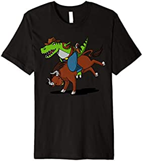 T-Rex Dinosaur Cowboy Riding Bull Rodeo Girls Boys Kids Premium T-shirt | Size S - 5XL