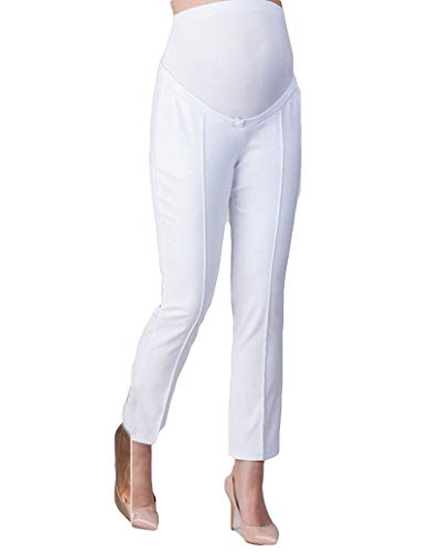 Maternity Pants Pregnant Women High Waist Skinny Work Office Pant Straight Leg Pants Ankle Pants Trousers (M, ()