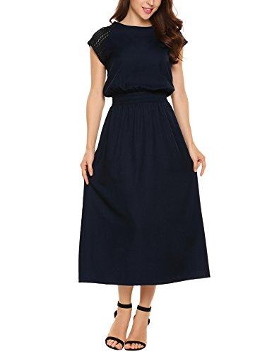 Acevog Women Chiffon Lace Patchwork Maxi Evening Party Dress, Navy Blue, Medium