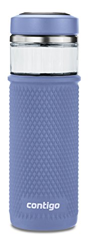 Contigo  Glass Water Bottle with a Quick-Twist Lid, 20 oz, Blue Corn