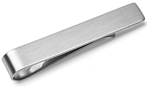 - Tie Bar Clip, Skinny Narrow and Wide - Gift Boxed by Puentes Denver (1.9 Inch Brushed Silver)