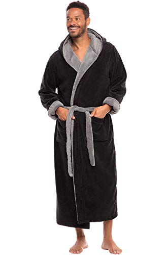 Alexander Del Rossa Men's Warm Fleece Robe with Hood, Big and Tall Bathrobe, Large XL Black with Steel Grey Contrast (A0125BKSXL)