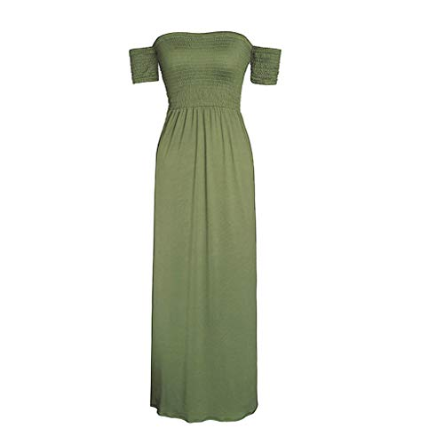 - Women Strapless Maxi Dresses Shirred Square Neck Short Sleeve Cocktail Maxi Dresses 2019 Casual Flowing Long Sundress for Party