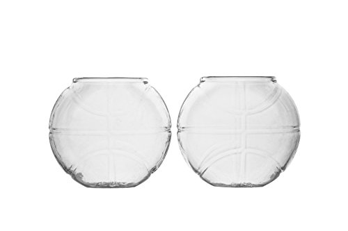 Basketball Whiskey Glass – 10 oz Uniquely Shaped Rocks Glass (other designs available) for Bourbon, Scotch, Brandy - Old Fashioned/Rocks Glasses from Prestige Decanters (Set of Two - Basketball)