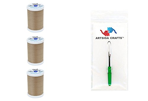 Coats & Clark Bundle: (3-Pack) Dual Duty XP General Purpose Poly Thread 250 Yds Mushroom with 1 Artsiga Crafts Seam Ripper S910-8540-3P