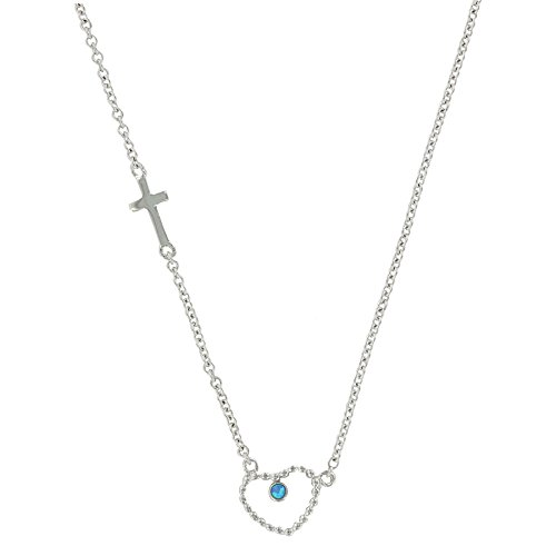 Montana Silversmiths Beaded Heart and Cross Necklace, 19