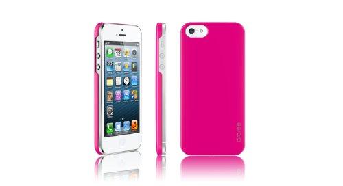 Araree HALF CASE Exklusive Design für iPhone 5 Hotpink Style mit guten Grip und leichtem Gewicht für Unterwegs, Extra noch dazu eine Displayschutzfolie und ein Mikrofasertuch, Schutzfolie für Karten v