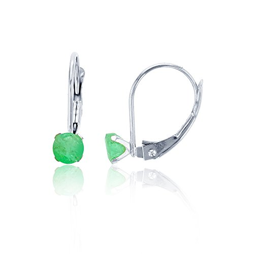 4 Prong Round Martini Earrings - 14K White Gold 4mm Round Emerald Martini Leverback Earring