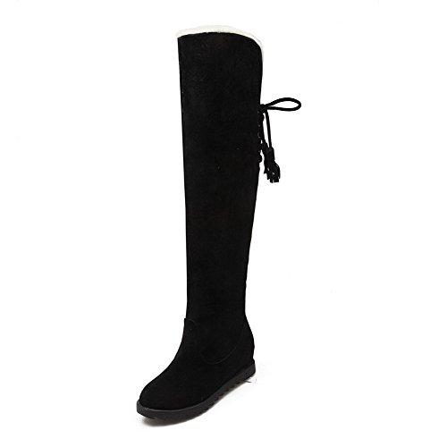 Heels Boots Women's Snow Top Black High Kitten Solid Round Closed Frosted Toe AllhqFashion zwnxvqTPTa