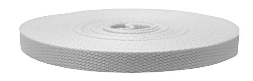 Strapworks Colored Flat Nylon Webbing - Strap for Arts and Crafts, Dog Leashes, Outdoor Activities - 3/4 Inches x 10 Yards, White ()