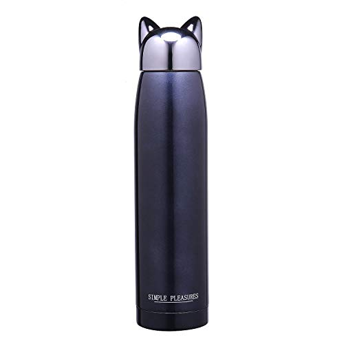 11 OZ Water Bottle Cat cap Stainless Steel Silicone sleeve BPA free by Simple Pleasures (Dark blue)