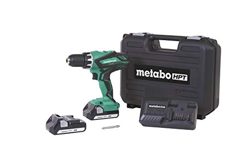 Metabo HPT DS18DGL 18V Cordless Driver Drill Kit, Includes 2 Lithium Ion Batteries, Carrying Bag, 1/2-Inch Keyless Chuck, LED Light, 22+1 Stage Clutch, Variable Speed Trigger