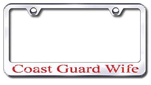 Aluminum Coast Guard Wife Design License Plate Frame with Swarovski Crystal Bling Diamond (Silver License Plate, Red Crystals) -  Simply Infinite Productions