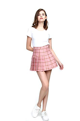 (Fashion World Women High-Waist Pleated Mini Skirt with Soft Shorts Underneath,Pink)