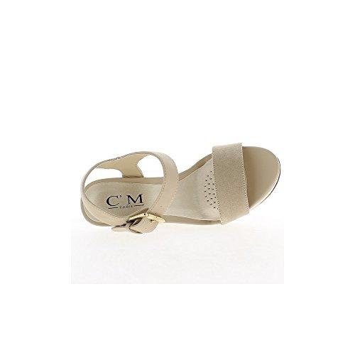 Sandales compensées nude à talons de 12,5 cm et plateau de 3,5 cm