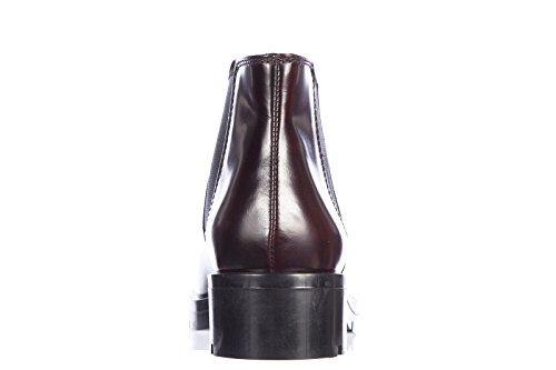 Tod's demi bottes femme en cuir caoutchouc pesante tronchetto elastico bordeaux