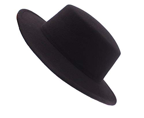 ASTRQLE Fashion Classic Black Wool Blend Fedora Hat Brim Flat Church Derby Cap