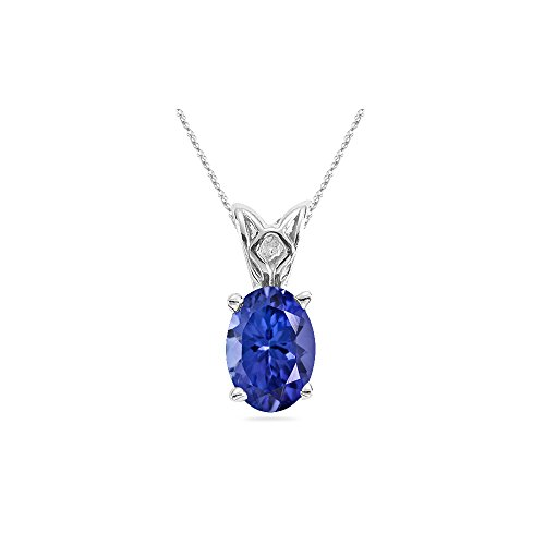 0.97-1.52 Cts of 8x6 mm AAA Oval Tanzanite Scroll Solitaire Pendant in 14K White Gold