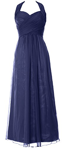 MACloth Women Halter Pleated Chiffon Long Prom Dress Wedding Party Formal Gown Azul Marino Oscuro