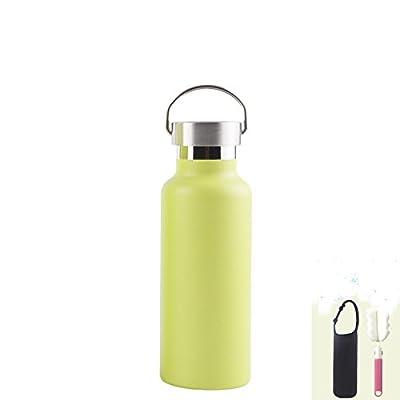 MONEYY Simple et élégant en acier inoxydable tasse isotherme grande campagne double aspiration de l'eau portable tasse 500ml