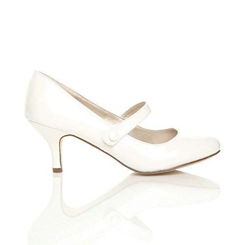 Lavoro Mary Patent Taglia Moda Jane Di Tacco Festa Media Elegante White Scarpe Donna 7qwxII