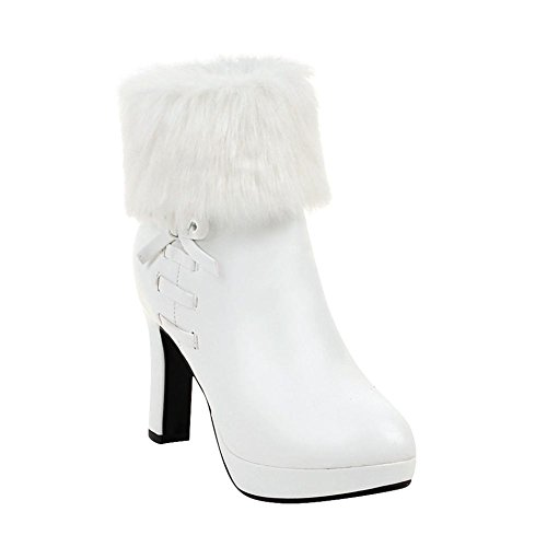 Mee Shoes Womens Sexy High-Heel Faux Fur Ankle-high Boots White 5WmkZl