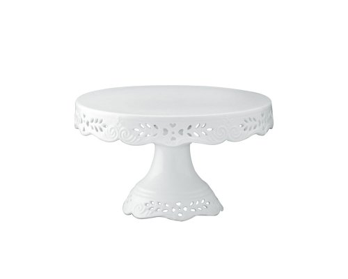 Gracie China Victorian Rose Fine Porcelain Round Pedestal Cake Stand 8-Inch Off White