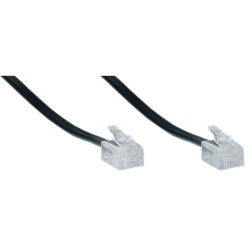6 Inch 4 Conductor Black Telephone Phone Line Cable Cord Wire- Used for One or Two Phone Line Phones Rj11 / Rj14 Type End- Commonly Used in Most Residential Homes, Lots Of Small Business Also. ()