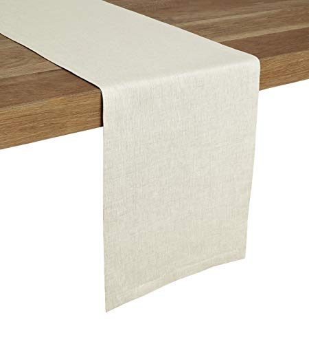 (Solino Home 100% Pure Linen Table Runner - 14 x 48 Inch, Tesoro Runner, Natural and Handcrafted from European Flax - Chambray)