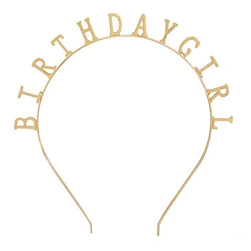 Birthday Girl Tiara Headband Crown Bday Headpiece Princess Party Hat Hair Band Gold (Gold Birthday Girl 1) ()