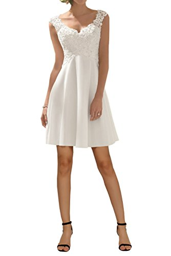 Simple Wedding Dress for Women, Elegant A-line V-Neck Sleeveless Bridal Gown Chiffon-White Short-14