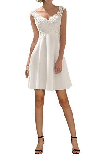 - Simple Wedding Dress for Women, Elegant A-line V-Neck Sleeveless Bridal Gown Chiffon-White Short-8